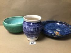 THREE PIECES OF POTTERY WARE, TWO BOWLS, (ROYAL WINTON AND BRETBY), AND A VASE (INDISTINCTLY