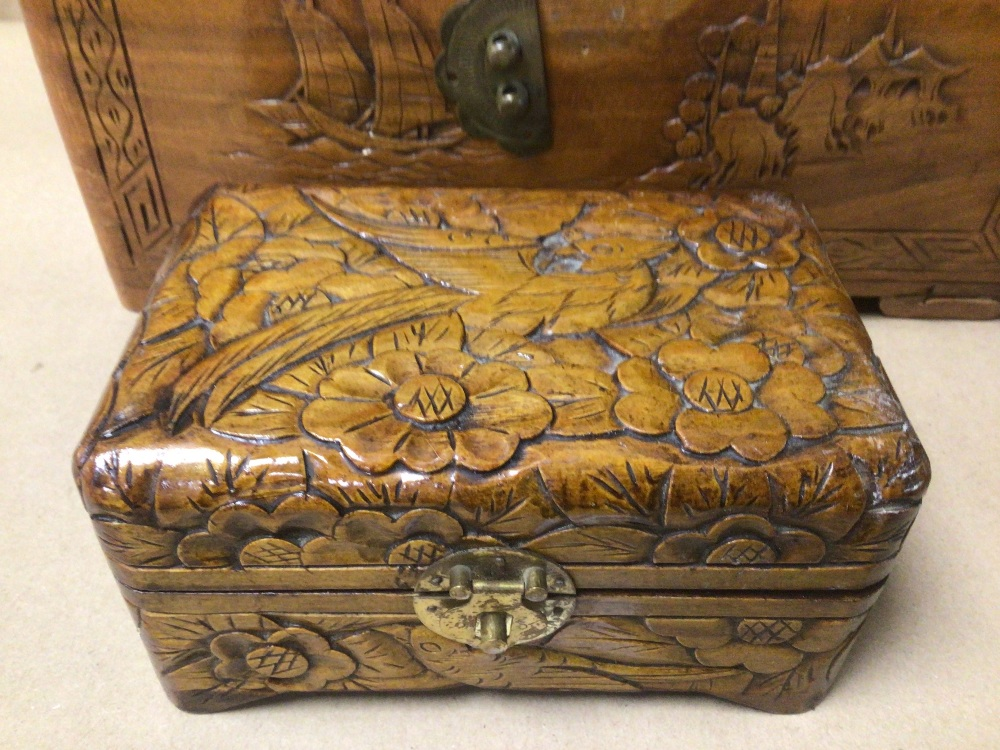 THREE WOODEN TRINKET/JEWELLERY BOXES, A/F - Image 7 of 8