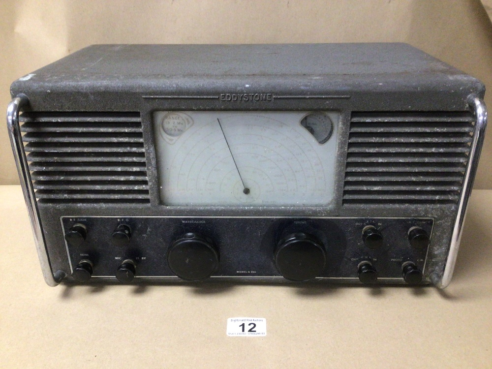 A VINTAGE C.1946 METAL CASE EDDYSTONE VALVE RADIO, MODEL S 504