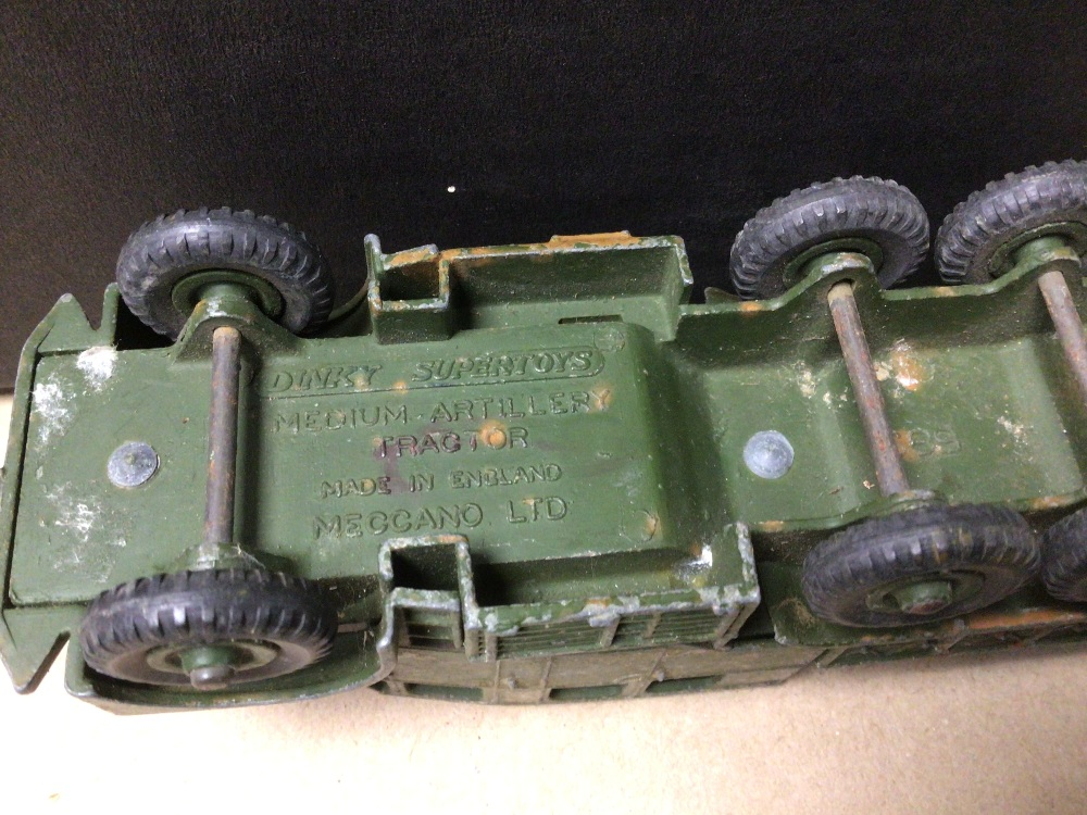BOX OF PLAY WORN DIE-CAST WWII MILITARY VEHICLES OF MOSTLY DINKY AND BRITAINS - Image 7 of 8