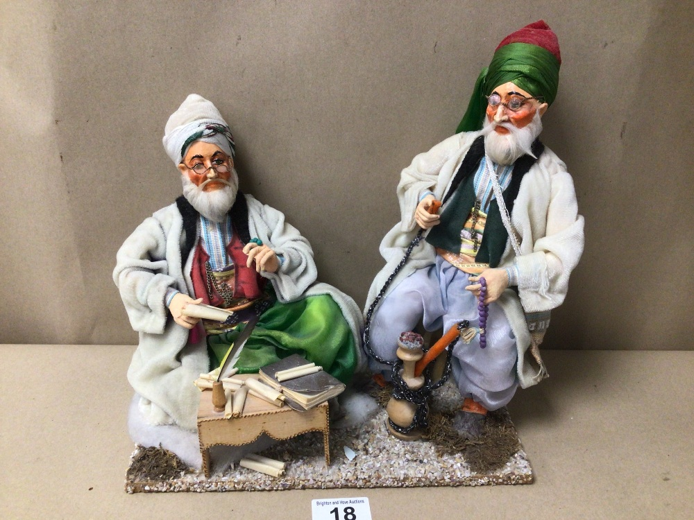 PAIR OF PAPIER-MÂCHÉ FIGURES OF MIDDLE EASTERN MEN ONE BEING A SCHOLAR AND THE OTHER IS SMOKING A