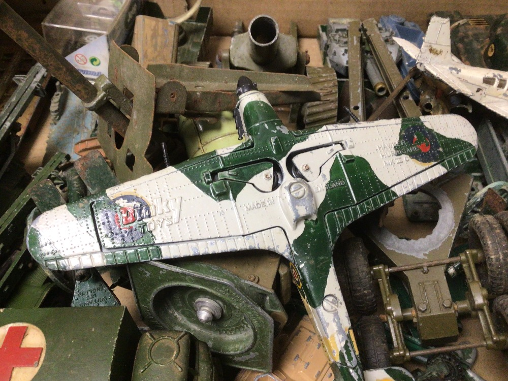 BOX OF PLAY WORN DIE-CAST WWII MILITARY VEHICLES OF MOSTLY DINKY AND BRITAINS - Image 8 of 8