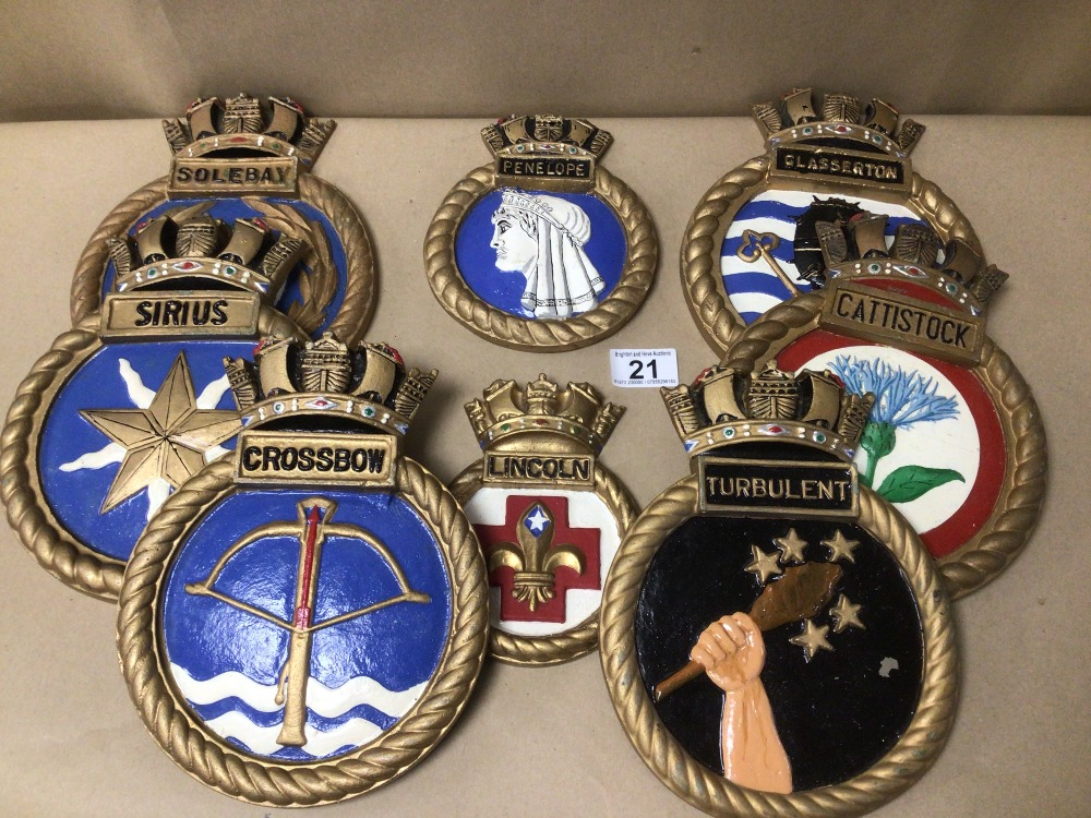 BOX OF EIGHT ROYAL NAVAL PLASTER WALL PLAQUES, INCLUDES HMS TURBULENT, HMS CROSSBOW, HMS PENELOPE, - Image 2 of 2