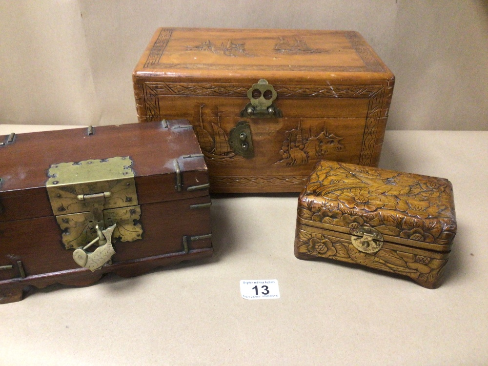 THREE WOODEN TRINKET/JEWELLERY BOXES, A/F