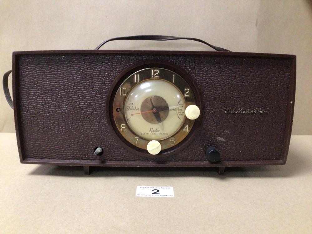 A RETRO C.1950 HIS MASTERS VOICE (HMV) CLOCK RADIO MODEL 1127, SERIAL 90362, (UNTESTED)