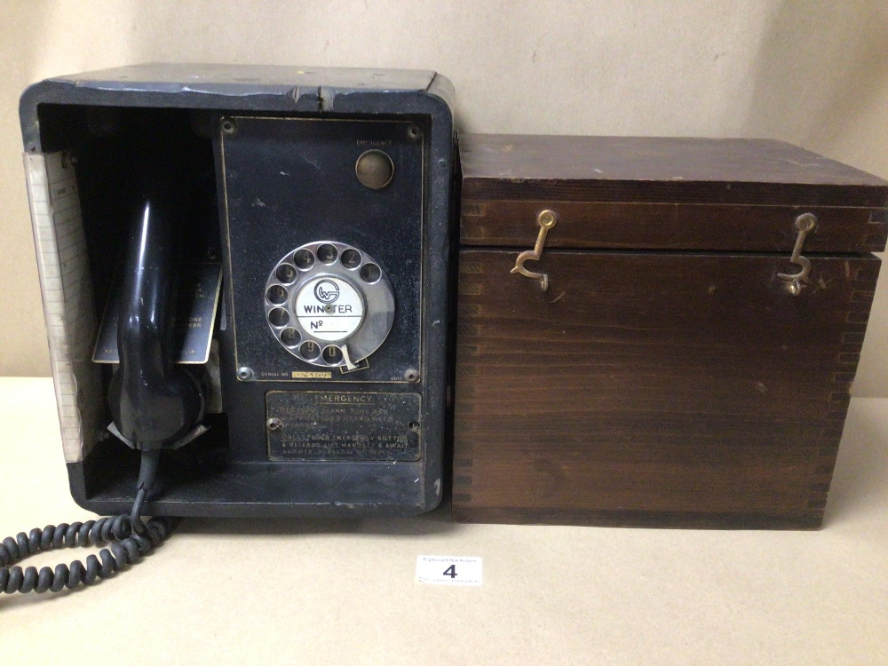 A RETRO C.1950 BLACK BAKELITE WINSTER TELEPHONE SYSTEM/BOX (MKIII, SN. 1186), TOGETHER WITH AN EMPTY
