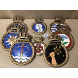 BOX OF EIGHT ROYAL NAVAL PLASTER WALL PLAQUES, INCLUDES HMS TURBULENT, HMS CROSSBOW, HMS PENELOPE,