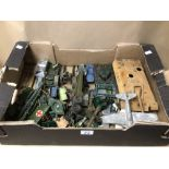 BOX OF PLAY WORN DIE-CAST WWII MILITARY VEHICLES OF MOSTLY DINKY AND BRITAINS