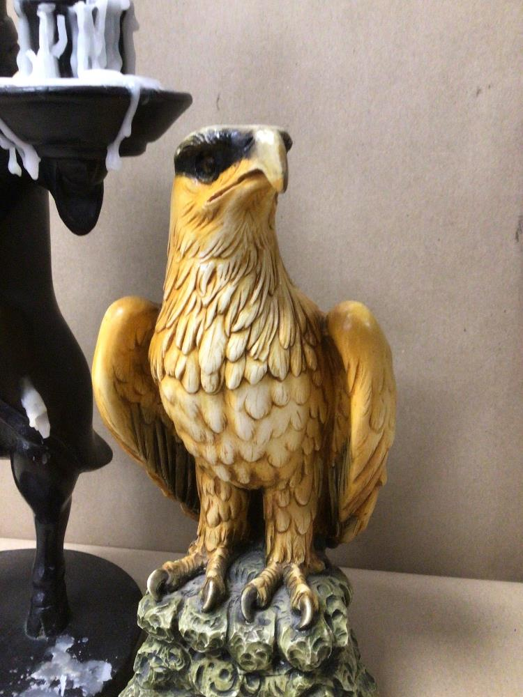 A RESIN FIGURE OF AN EAGLE WITH AN EBONISED PIG CANDLE HOLDER DRESSED IN FORMAL ATTIRE - Image 3 of 6