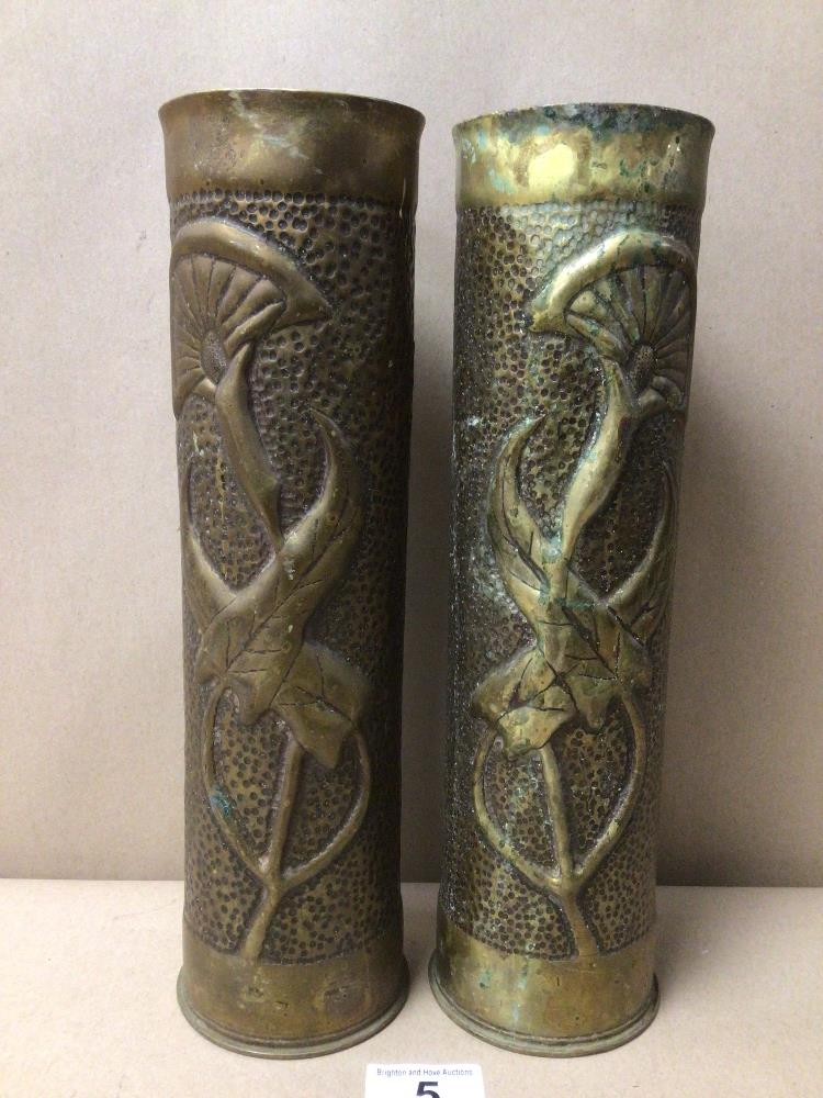 A MATCHING PAIR OF 75MM WWI FRENCH FIELD GUN TRENCH ART BRASS SHELL CASINGS FORMED INTO VASES, - Image 2 of 4
