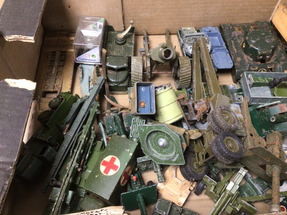 BOX OF PLAY WORN DIE-CAST WWII MILITARY VEHICLES OF MOSTLY DINKY AND BRITAINS - Image 4 of 8