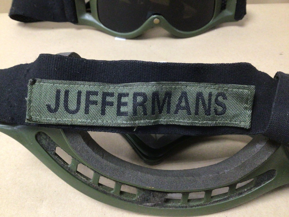 TWO PAIRS OF DUTCH ARMY MVD BALLISTIC GOGGLES, WITH SERVICE NAME TAGS. ONE PAIR CLEAR AND THE - Image 3 of 6