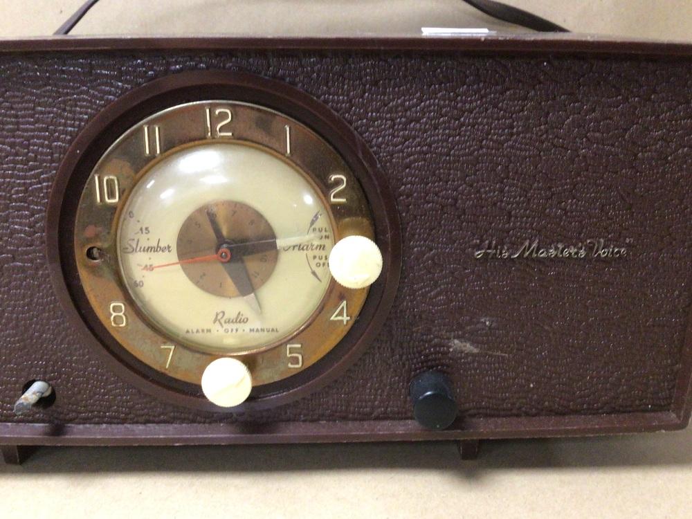 A RETRO C.1950 HIS MASTERS VOICE (HMV) CLOCK RADIO MODEL 1127, SERIAL 90362, (UNTESTED) - Image 2 of 7