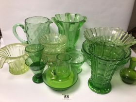 MIXED VINTAGE GREEN AND URANIUM GLASS