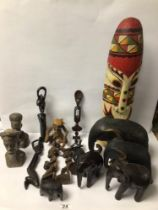 A QUANTITY OF AFRICAN WOODEN ITEMS, FIGURES, AND MORE