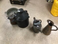 MIXED COPPER ITEMS, JUGS AND MORE ALSO A 1 LITRE CAN