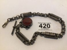 ORNATE VICTORIAN HALLMARKED SILVER ENGRAVED 34CM WATCH CHAIN WITH ATTACHED HARDSTONE SWIVEL FOB