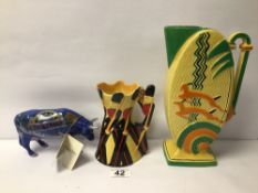 TWO ART DECO JUGS, BURLEIGH WARE, THE LARGEST 27CM WITH A CERAMIC BROADWAY BABY COW