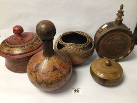 MIXED VINTAGE ITEMS, WOODEN LIDDED POT, FLASK, AND, MORE