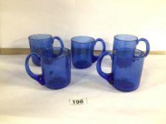 ERIC HOGLUND KOSTA BODA FIVE BLUE BEER GLASSES