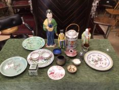 MIXED CHINESE AND JAPANESE PORCELAIN, TEAPOT, PLATES, FIGURES AND MORE