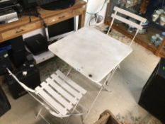 WHITE METAL FOLDING TABLE WITH TWO CHAIRS