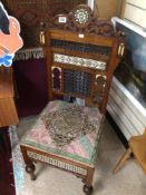 19TH CENTURY MIDDLE EASTERN CHAIR DECORATIVE INLAY WITH BONE, EBONY