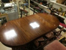 VICTORIAN MAHOGANY EXTENDING TABLE WITH FIVE BAR BACK CHAIRS
