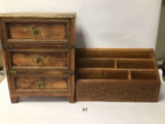 THREE DRAWER WOODEN CHEST WITH BRASS DETAIL AND A WOODEN DESK TIDY