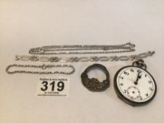 925 SILVER POCKET WATCH A/F HALLMARKED SILVER CHAIN WITH TWO BRACELETS AND BROOCH