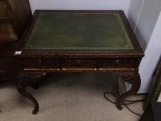 HEAVY CARVED OAK WRITING DESK WITH GREEN LEATHER TOP WITH THREE DRAWERS
