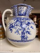 LARGE BLUE AND WHITE VICTORIAN WATER JUG