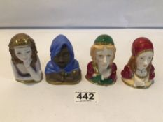 FOUR ROYAL WORCESTER CONNOISSEUR COLLECTION PORCELAIN SNUFFERS OTHELLO, JULIET, TITANIA AND ROMEO