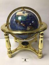 A GEMSTONE WORLD GLOBE, 24 X 24CM