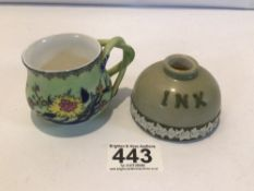 CARLTON WARE PORCELAIN INKWELL WITH A ROYAL WORCESTER CUP