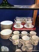 SET OF TWELVE ESCHENBACH BRAVARIA COFFEE CUPS, SAUCERS AND CAKE PLATES