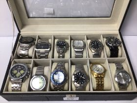A MIXED COLLECTION OF GENTS WATCHES IN CASE