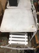 WHITE METAL FOLDING TABLE WITH TWO FOLDING CHAIRS