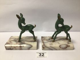 A PAIR OF SPELTER FAWNS ON MARBLE BASES