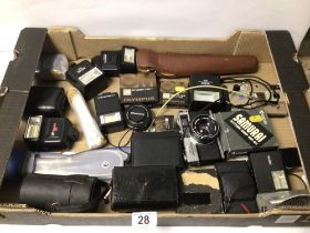 MIXED BOX OF CAMERAS AND ACCESSORIES, OLYMPUS 35RD AND MINOLTA DISC-7, AND MORE