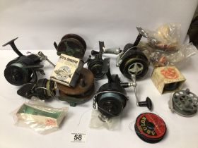 VINTAGE FISHING REELS, INTREPID-DE-LUX, MITCHELL 30X INTREPID SUPER-CAST AND MORE