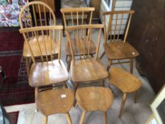 A QUANTITY OF VINTAGE 1960'S ERCOL CHAIRS AND STOOLS, WINDSOR