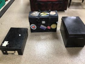 TWO BLACK METAL STRONG BOXES WITH A VINTAGE BLACK CARRY CASE