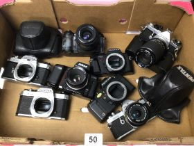 BOX OF MIXED CAMERAS PENTAX M. E SUPER, NIKON F80 AND MORE