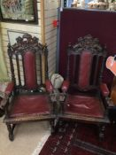 A PAIR OF ANTIQUE GOTHIC REVIVAL CHAIRS OAK AND LEATHER