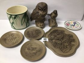 MIXED POOLE POTTERY INCLUDES BIRDS