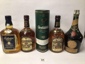 MIXED ALCOHOL, CHIVAS REGAL, GLENFIDDICH, BALENTINES D. O. M BENEDICTINE