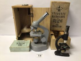 TWO BOXED STUDENT MICROSCOPES