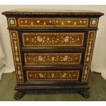 An Indo Portuguese rectangular inlaid oak chest of drawers on four claw feet, 90 x 81 x 42cm
