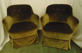 A pair of early 20th century upholstered button back tub chairs